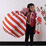DDLBiz Kids 16 Inch Organization Stuffed Animal Toy Storage Bean Bag Soft Pouch Stripe Chair