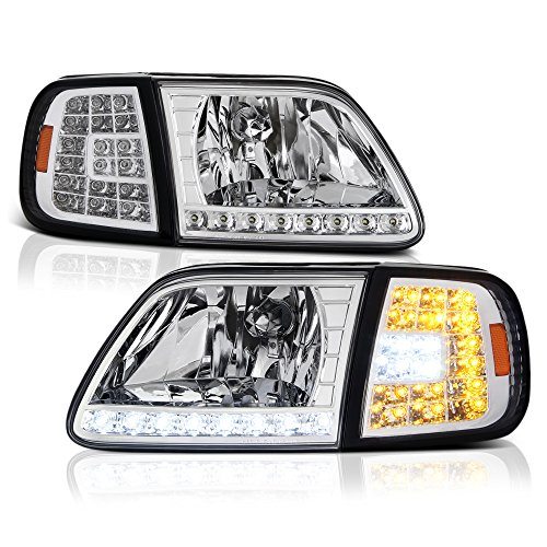 VIPMOTOZ LED Strip Headlight & Turn Signal Corner Lamp For 1997-2003 Ford F-150 & Expedition - Metallic Chrome Housing, Driver and Passenger Side (2000 Expedition Chrome Parts)