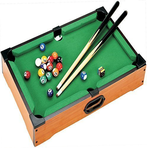 DELUXE MINI TABLE TOP POOL SET CHILDRENS CUE BALLS TOY SNOOKER GAME XMAS  GIFT by Pool