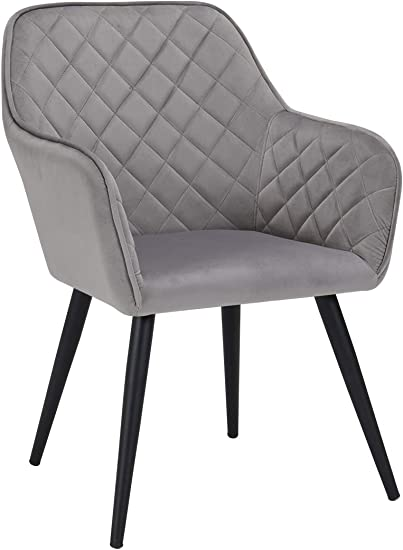 Duhome Modern Accent Chairs,Home Office Mid-Back Support Mid-Century Arm Chair Leisure Upholstered Chair with Metal Legs Living Room Reception Side Chairs with Armrest Grey