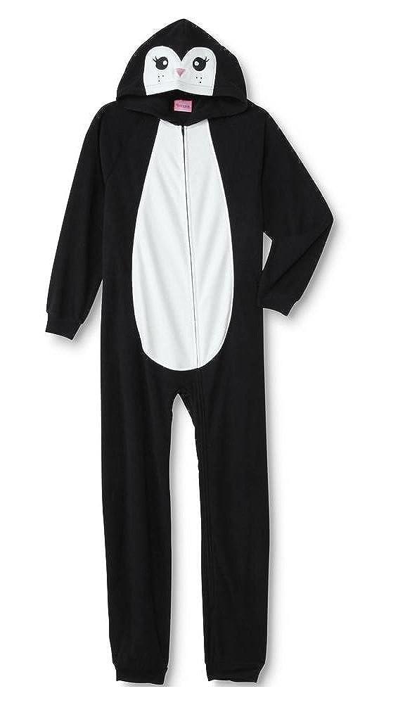 Girls Fleece Penguin Hooded One Piece Pajama Set Size XS 4//5