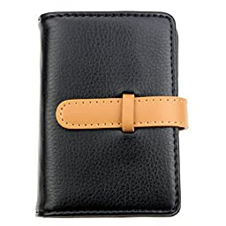 DKER PU Leather Credit Card Holder with 26 Card Slots - Book Style - Size 4.2 X 3 X 0.7 Inches (Black)