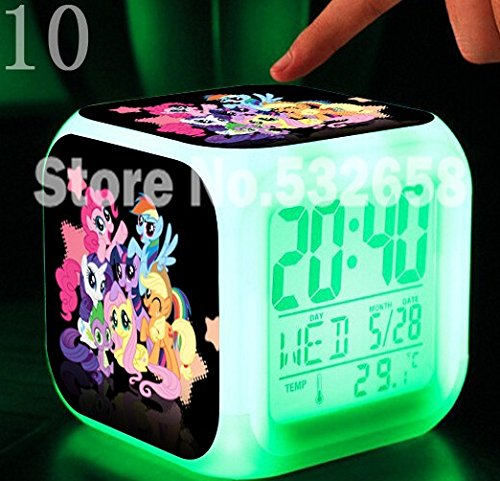 Princess Ponies Toys & Hobbies Little Horse Alarm Clock Digital Action Toy Figures Thermometer Night Colorful Glowing Toys (Style 10)