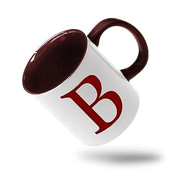 Amazon.com: Taza de cerámica con diseño de letra del ...