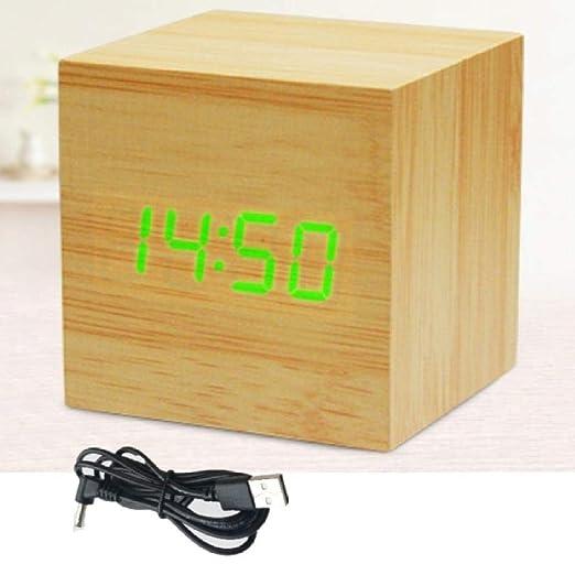 Alarmclocker8B Cubo Reloj de Madera Mesa LED Digital Mesa Reloj ...