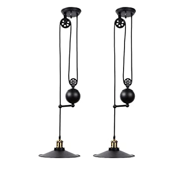 Fuloon edison vintage loft industrial pulley pendant lights fuloon edison vintage loft industrial pulley pendant lights adjustable wire lamps retractable lighting black aloadofball Image collections