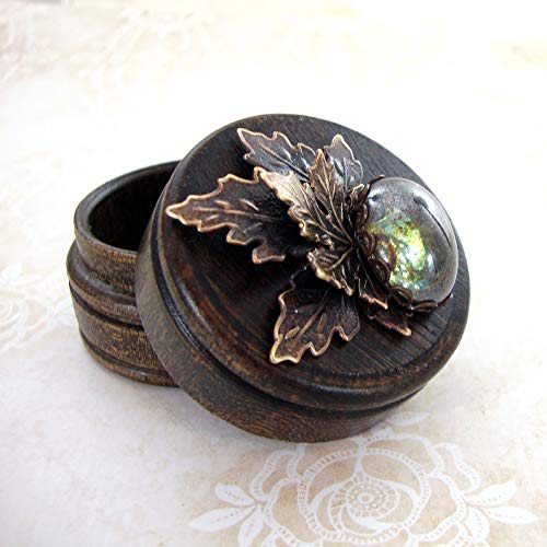 Tiny Rustic Woodland Trinket Box made with Hand-Oxidized Brass and Czech Glass