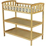 Dream on Me - Emily Changing Table - Natural - Nursery Room - Nursery Furniture - Traditional Design in a Solid Pine Wood Construction - 2 Shelves - Non-toxic Finish