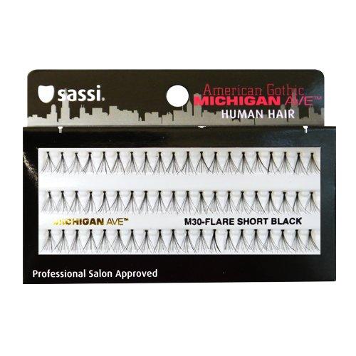 Sassi 804-M30 Michigan Ave 100% Human Hair Flare Short Eyelashes, Black, 6 Count