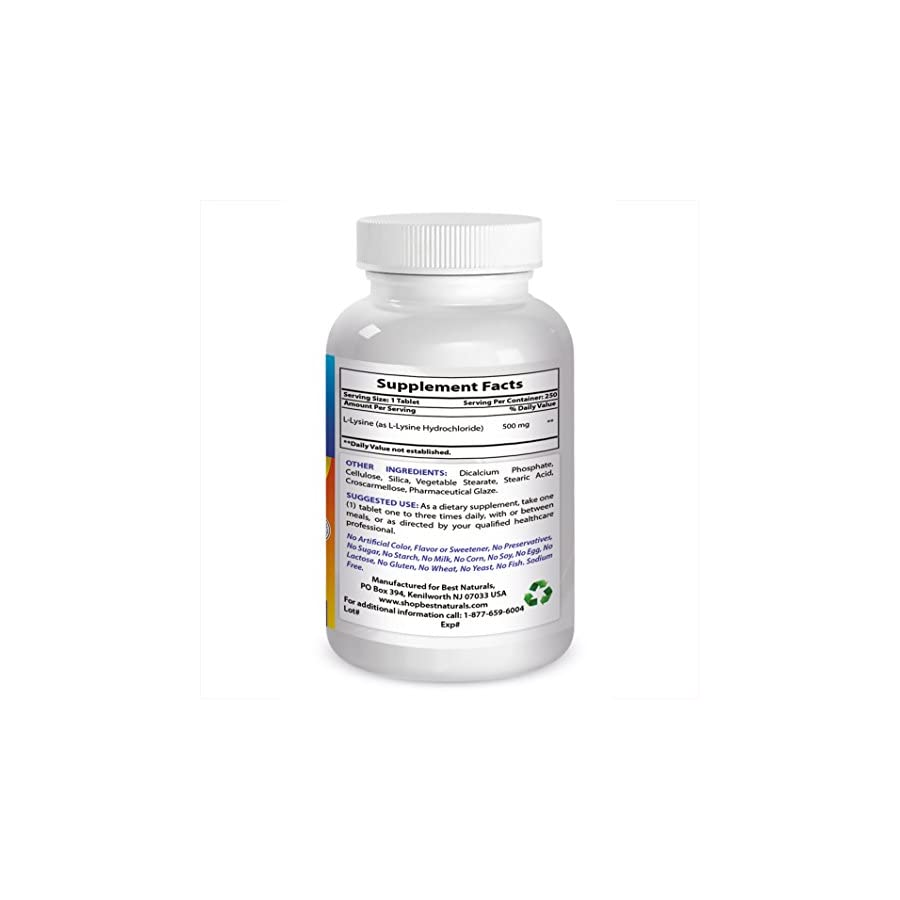 Best Naturals L Lysine 500 mg 250 Tablets