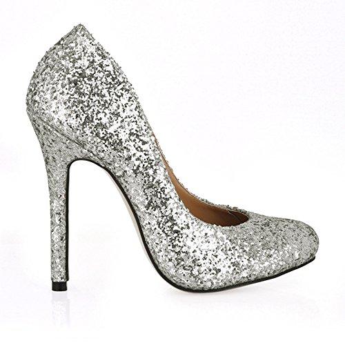 goût ronde Silver printemps cuir haut Le chaussures fine en verni Chaussures noir de talon à tête à Adaxa6wqtX