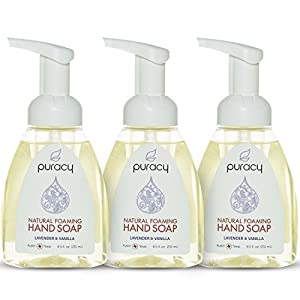 Puracy Natural Foaming Hand Soap, Sulfate-Free Moisturizing Foam Hand Wash, Lavender and Vanilla, 8.5 Ounce Pump Bottle (Pack of 3)