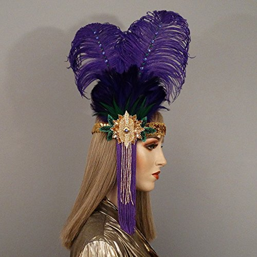 Queenie Mardi Gras Flapper Feather Headband by Gypsy Renaissance Masquerade Masks and Headbands
