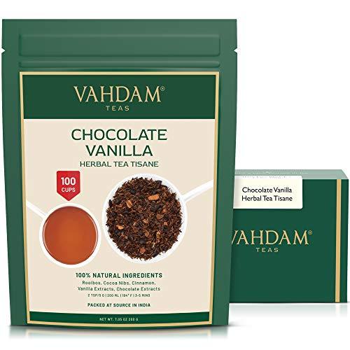 VAHDAM, Chocolate Vanilla Te de hierbas Tisane-200g/ 100 + tazas / Rooibos + CHOCOLATE hecho a mano + Cremoso VANILLA te de hojas sueltas / 100% Pure & Natural / Nuevo chocolate favorito Indulgence