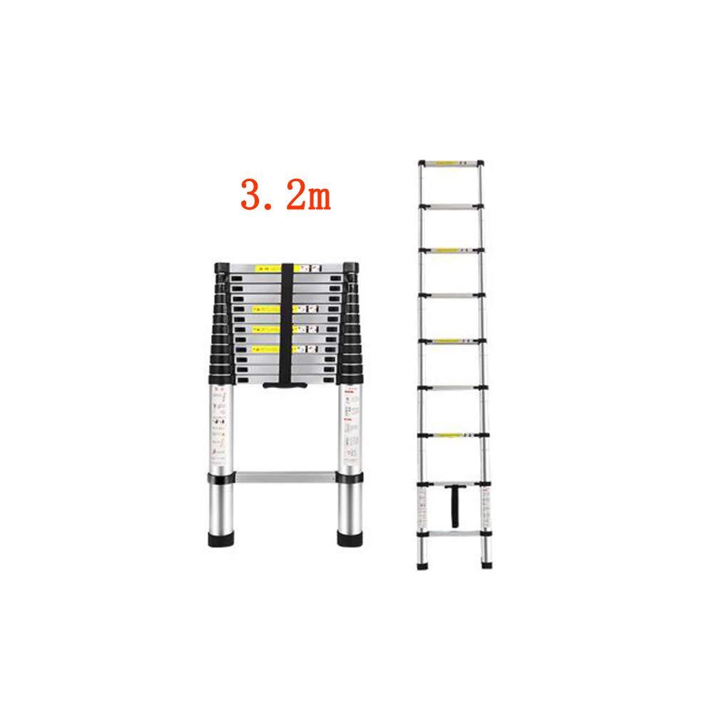 3.2m GLJJQMY Scala telescopica a casa Dritta Scala Tecnica attico Pieghevole bambù Portatile Solleva in Lega di tuttiuminio Spesso (Dimensione   3.8m)