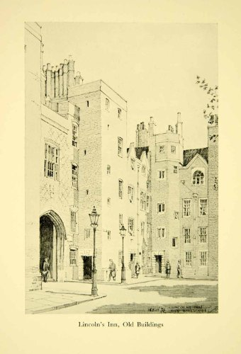 1928 Print London England Lincoln's Inn F.W. Knight Street Architecture Court - Original Halftone Print