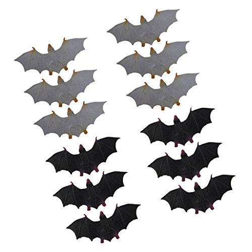 (12x Plastic Bats Halloween Rodents Animals Model Spooky Vampire Novelty Toys)