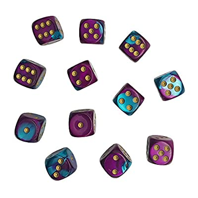 Chessex Dice d6 Sets: Gemini Purple/Teal with Gold - 16mm 6 Sided Die (12): Toys & Games