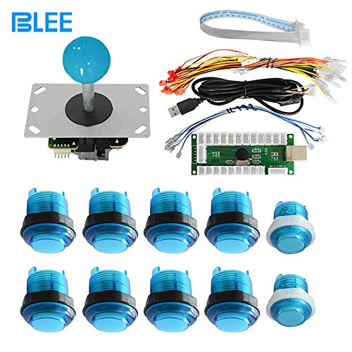 BLEE Zero Delay USB Encoder To PC Games DIY With 10 LED Buttons 1 Joysticks 1 USB Encoder Kit Cables Arcade Set for Mame Raspberry Pi 2 3 ()