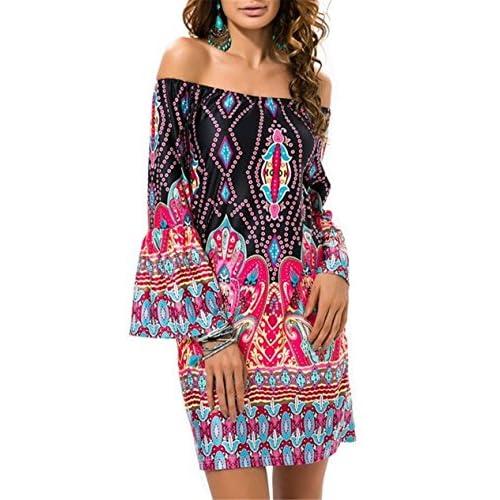 Aimur Women Sundress Boat Neck Bohemian Printed Beach Dresses AICS5519 for cheap