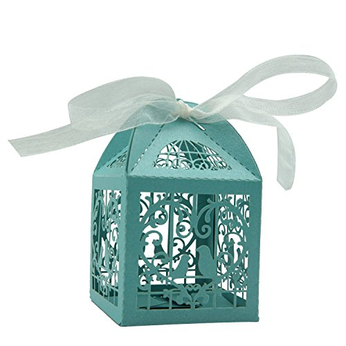 KEIVA 70 Pack White Love Birds Laser Cut Favor Candy Box Bomboniere Decorations Gift Boxes with Ribbons Bridal Shower Wedding Party Favors - Cut Heart Laser
