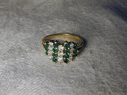 Gorgeous Estate 14K Yellow Gold Emerald Diamond Mosaic Band Ring 14k Yellow Gold Mosaic