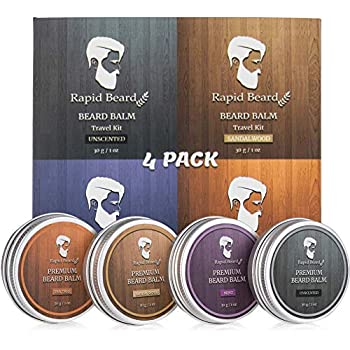 Beard Balm Conditioner 4 Pack - Natural Variety Leave-in Conditioner Wax Butter Stocking Stuffers Gift Set for Men - Unscented, Sandalwood, Tea Tree & Mint - Styles, Strengthens, Softens Mustache kit