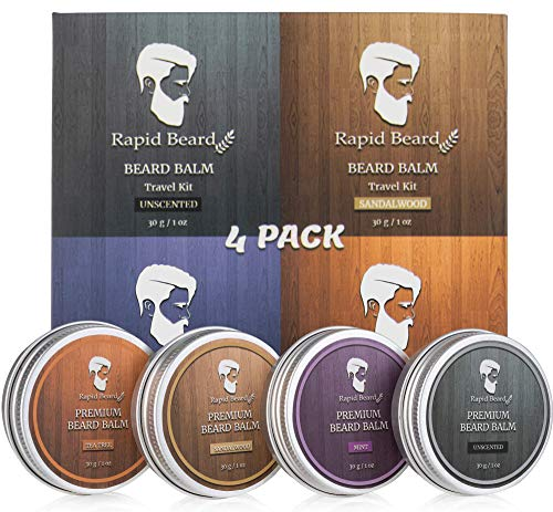 Beard Balm Conditioner 4 Pack – Natural Variety Leave-in Conditioner Wax Butter Gift Set for Men – Unscented, Sandalwood, Tea Tree & Mint – Styles, Strengthens, Softens Mustache kit