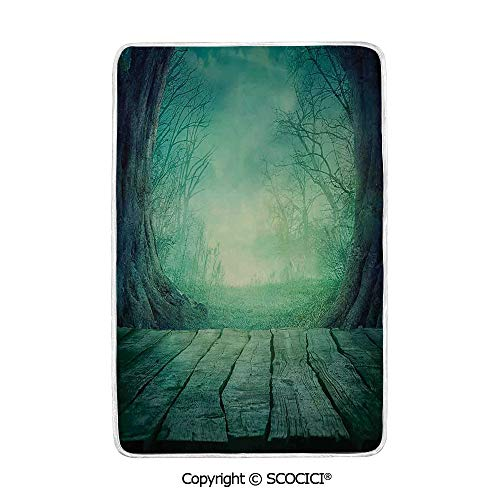 SCOCICI Ultra Comfortable,Cozy and Warm Carpet Blanket Spooky Scary Dark Fog Forest with Dead Trees and Wooden Table Halloween Horror Theme Print No Colour Fading Rug One Side Printed -