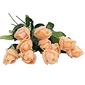 Kaimao 10 Pcs Real Touch Artificial Rose Flowers Bridesmaid Bridal Bouquet Home Decorations for Wedding Party Garden 32