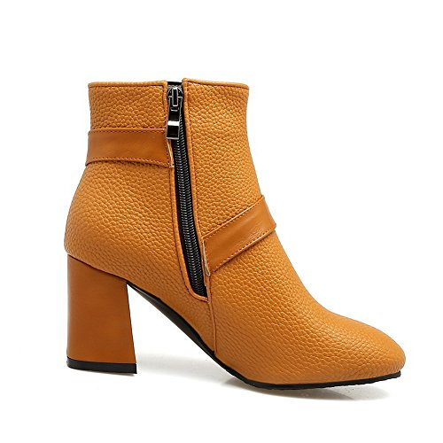 Toe Smooth amp;N Cushioning Heel Road Leather AN Boots A Zipper Kitten Urethane Warm Manmade Yellow Boots DKU01968 Closed Womens Waterproof Lining xXxSgaw6W