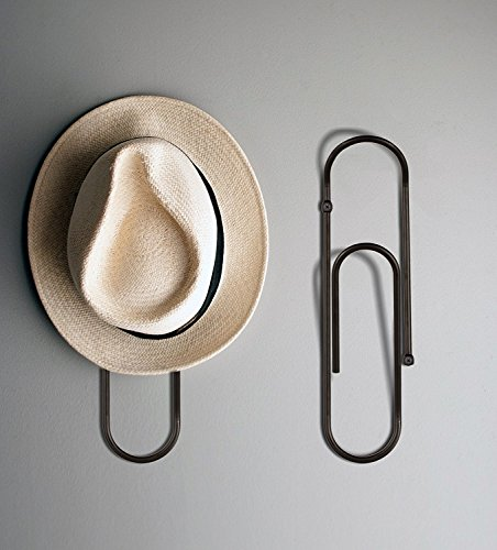 CLIP - DESIGNER GIANT PAPER CLIP WALL HOOK - Wall Mounted Coat Rack, Perfect for Coats, Magazines, Towels, Jackets, Hats, Bags, Tea Towels & Much More. Your Imagination is the Only Limit. (BLACK)