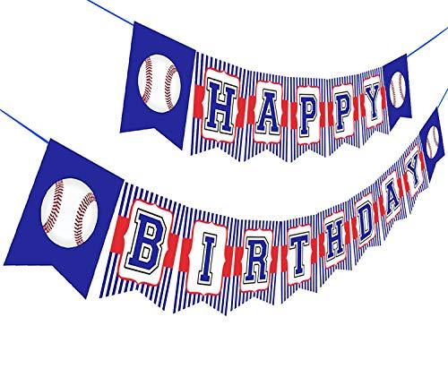 Baseball Happy Birthday Banner,Baseball Birthday Party Bunting Banner, Happy Birthday Sports Party Decorations