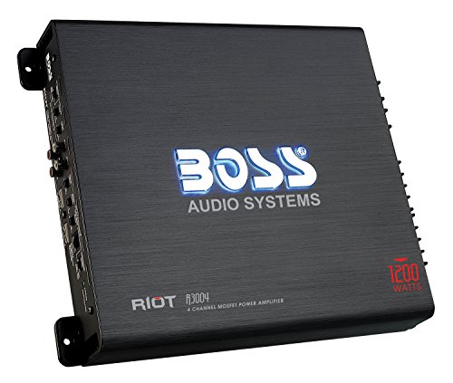 BOSS Audio R3004 - Riot 1200 Watt, 4 Channel, 2/4 Ohm Stable Class A/B, Full Range, Bridgeable, MOSFET Car Amplifier with Remote Subwoofer Control by BOSS Audio Systems
