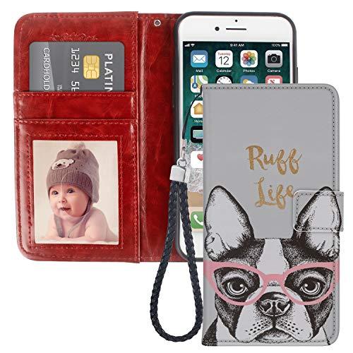 Uniquely Designed Boston Terrier iPhone 8 Plus Wallet Case Shockproof Flip Folio Synthetic Leather Magnetic Wallet Case for iPhone 7 Plus with ID and Credit Card Pockets Hand Strap Boston Terrier Dog Custom Photo