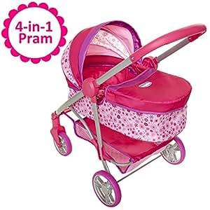 Amazon.com: Baby Doll Stroller, 4-in-1 Pram/Stroller Gift