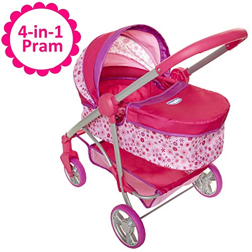 Baby Doll Stroller, 4-in-1 Pram/Stroller Gift Set, For Baby Dolls up to 18 Inches Tall, Baby Doll Stroller/Pram Play Set, For Girls Ages 3, 4, 5 & 6 Years Old
