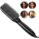 YITRUST Beard Hair Straightener Brush Straightening Detangling Styler Heated Comb LCD for Men Women
