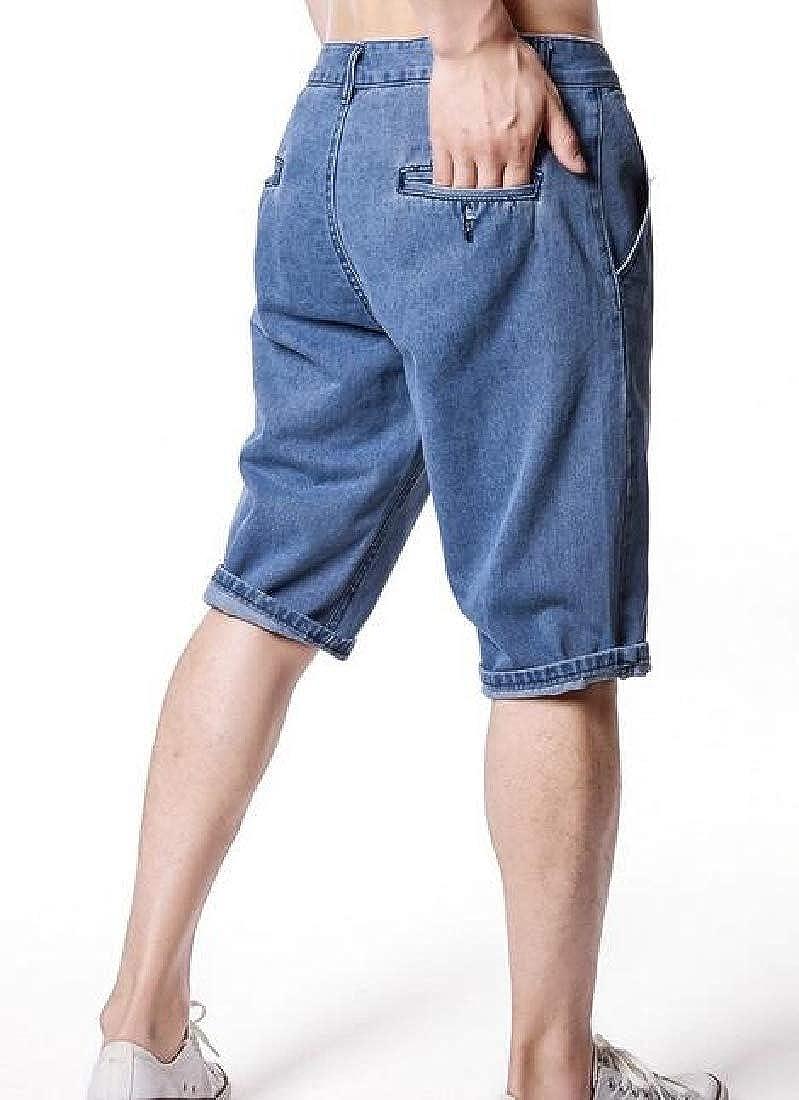 WAWAYA Mens Straight Stretchy Pockets Classic Plain Denim Jeans Shorts