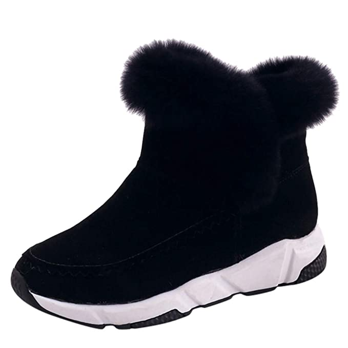 d341504ff7782 Memela Winter Snow Boots Slip on Ankle Bootie Anti-Slip Fur Lined ...