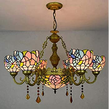ChuanHan Tiffany Style Chandelier European Style Stained Glass Pendant Lights Creative Multi-Head Crystal Hanging Ceiling Light/Lamp for Parlour Dining Room Bedchamber,B
