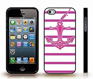 iPhone 5/5S Case with Pink Anchor with Purple Stripes on White Background , Snap-on Cover, Hard Carrying Case (Black)