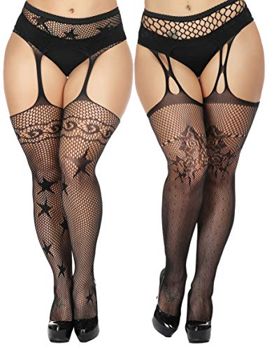 TGD Womens Plus Size Stockings Suspender Pantyhose Fishnet Tights Black Thigh High Stocking 2Pairs Size(US 8-16) (Black 6162)