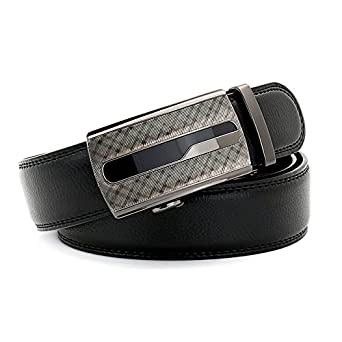 Genuine Leather Mens Ratchet Dress Belt Big and Tall 54 Black Adjustable Slick Buckle