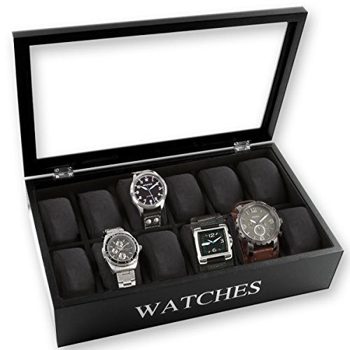 Uhrenbox für 12 Uhren inkl. Uhrenkissen im edlem Design schwarz oder weiß mit Glasfront 34 cm x 20 cm x 9 cm (Schwarz)