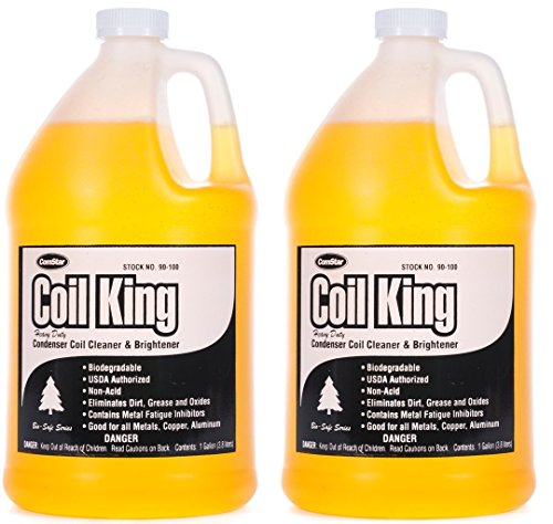 ComStar 90-100 Coil King Professional Grade Concentrated Alkaline External Condenser Coil Cleaner, 1 gal Container, Yellow (2-(Pack))
