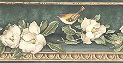 Green Gold Floral Birds Wallpaper Border
