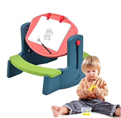 K&A Company Plastic Height Adjustable 2-in-1 Children Drawing Table Chair Set