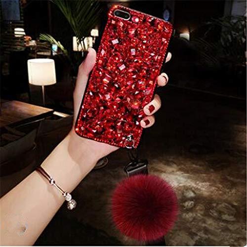 Case for Galaxy S9 Plus,3D Handmade Sparkle Stunning Stones Rhinestone with Rabbit Furry Plush Ball Diamond Case for Samsung Galaxy S9 Plus(WineRed)