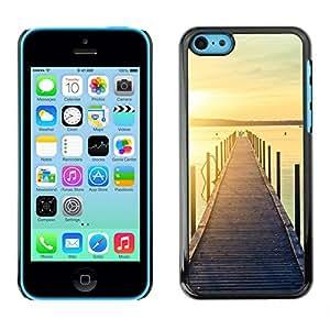 For Apple iPhone 5C Case , Jetty Dock Beach Sunset Lake - Diseño Patrón Teléfono Caso Cubierta Case Bumper Duro Protección Case Cover Funda
